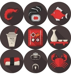 Flat icons for japanese restaurant vector image