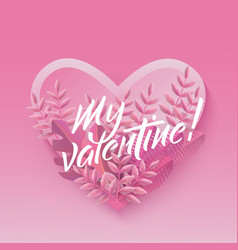 flat my valentine with purple leaves background vector image