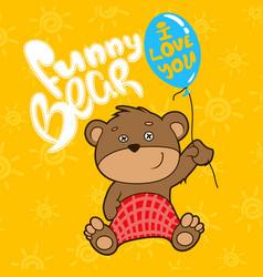 funny bear whith ballon vector image