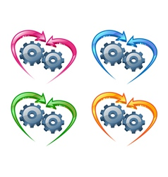 Gears and arrows vector image