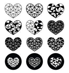 Geometric heart for Valentines Day icons - love vector