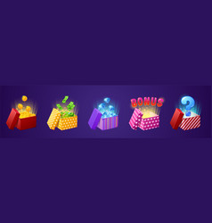 gift box with bonus money coins bills diamonds vector image