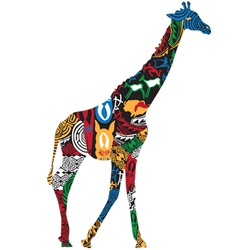Giraffe in the African ethnic patterns vector