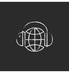 Globe in a headphones icon drawn chalk vector image