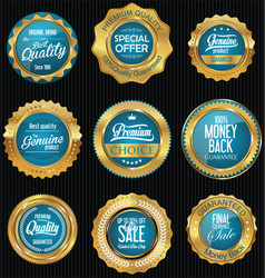 golden badges and labels retro premium collection vector image