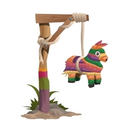 Hangman on a wooden beam with horse toy vector