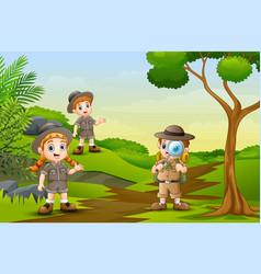 happy children is exploring in the nature vector image