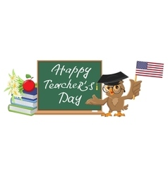 Happy Teachers Day Owl teacher stands at vector image