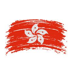 Hong kong flag in grunge brush stroke vector
