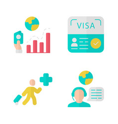 Immigration flat design long shadow color icons vector