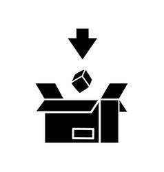 Import black glyph icon commodity in cardboard vector
