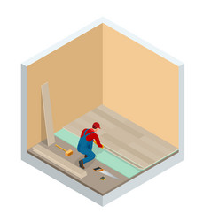 Isometric man installing new laminated wooden vector