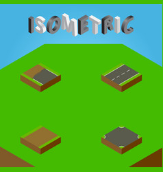Isometric way set of footpath driveway crossroad vector