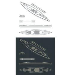 kayak drawings vector image