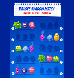 Kids find correct shadow puzzle game with viruses vector