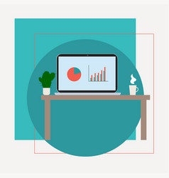 laptop on table flat design vector image