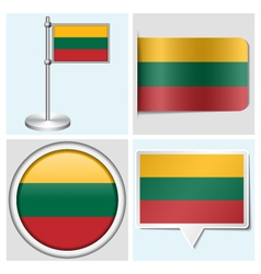 Lithuania flag - sticker button label flagstaff vector image