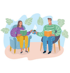 man and woman read book vector image