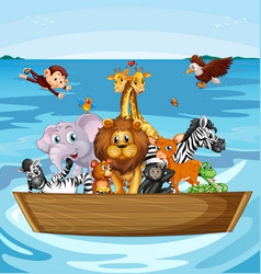 Many cute animals rowing boat vector