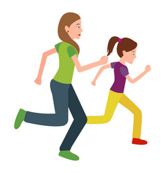 mother and daughter run jogging together vector image