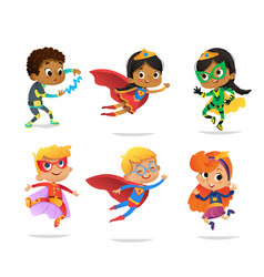 Multiracial boys and girls wearing colorful vector