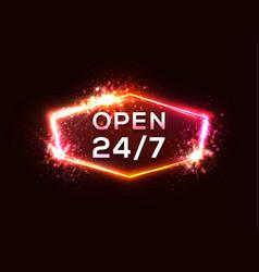 Open sign store 24 7 retro neon sign light letter vector