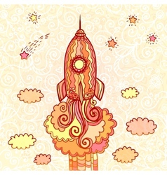 Ornate doodles rocket starting to space vector