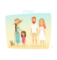 people on beach family surfer friends vector image