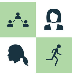 person icons set collection of gentlewoman head vector image