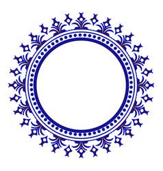 porcelain decorative round frame vector image