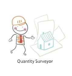 Quantity surveyor design house on paper vector