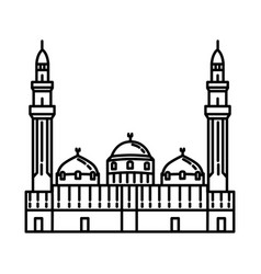 Quba mosque in madinah icon doodle hand drawn vector
