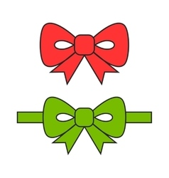 Red and green bows ribbons Flat object vector image