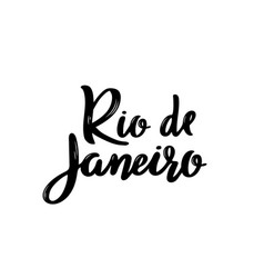 rio de janeiro- hand drawn lettering vector image