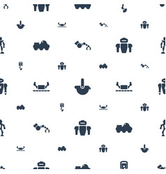 Robotic icons pattern seamless white background vector