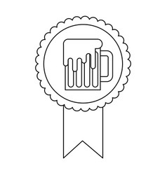 Rosette badge with beer glass foamy drink vector