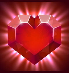 ruby gem in form of heart with light beams vector image