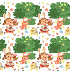 seamless pattern girl smile running hunting vector image