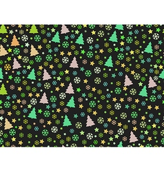 Seamless pattern with Christmas trees and snow vector image