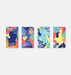 set abstract floral background designs vector image
