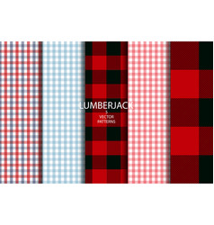set of 5 lumberjack plaid pattern vector image
