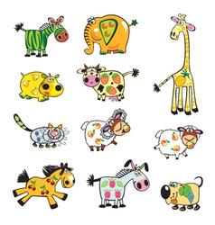 Set of childish fruity animals vector