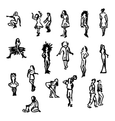Set of people silhouettes vector image