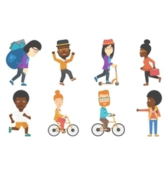 Set of tourists business and sport characters vector
