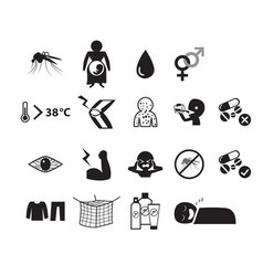 set zika virus icon in silhouette style vector image