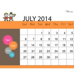 simple 2014 calendar july vector image