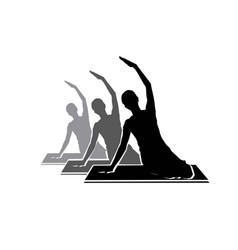 Sitting pilates woman silhouette logo design icon vector