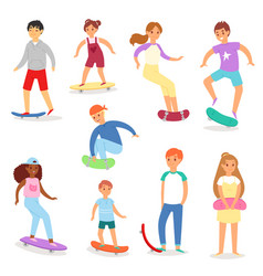 skateboarders young boy or girl characters vector image