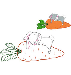 Sleeping rabbit coloring page vector