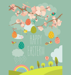 Spring blooming tree with easter eggs vector